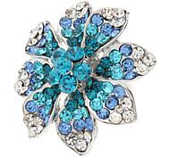 Motif fleur en métal entièrement ornée de pierres précieuses Bague réglable
