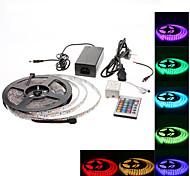 5m impermeable 300x5050 SMD RGB LED luz de tira con 24-botón del mando a distancia y adaptador de CA conjunto (100-240v)