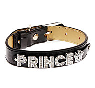 Dog Collars Black PU Leather