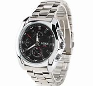 aço dos homens relógio de pulso analógico de quartzo (prata)