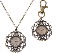 Unisex Hollow Style Alloy Analog Quartz Keychain Necklace Watch (Bronze)