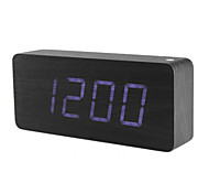 Dark Wooden Design Blue Light Desktop Cuboids Alarm Clock Calendar Thermometer (100-240V/4xAA)