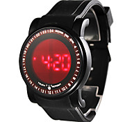 Men's Touch Screen Style Silicone Digital LED Wrist Watch (Black)