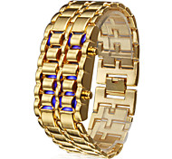 Men's Watch Blue LED Digital Lava Style Gold Steel Band