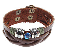 z&x® azul cristal pulsera de cuero remache