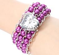 Women's Pearl Style Plastic Analog Quartz Bracelet Watch (Assorted Colors)