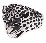Leopard Shape Antique Silver Diamond-studded Ring