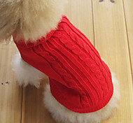 Dog / Cat Sweater Red / Green / Blue / Brown / Pink / Coffee Winter Solid Keep Warm