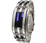 Men's Watch Faceless Watch Blue LED Digit Watch Calendar Steel Band Wrist Watch Cool Watch Unique Watch