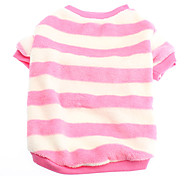 Baby Girl Style Pink and White Stripe Fleeces Coat for Dogs (XS-XL)