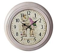"12.75""H France Scenery Metal Wall Clock"