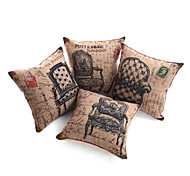 Set of 4 Retro Print Furniture Decorative Pillow Cover