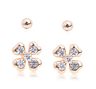 Lureme®Alloy Beads Four Leaf Clover Shaped Zircon Earrings Set(2 Pairs)