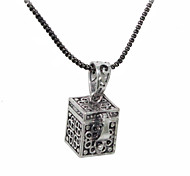 Silver Plated Magic Box Shaped Alloy Necklace