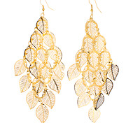 Lucky Leaf Shape Hollow Out Gold Plated Earrings