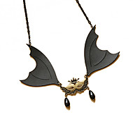 Flying Black Bat Pearls Necklace
