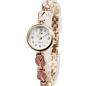 Unique Alloy Leaves Design Round Glass Quartz Women's Watch(More Colors)