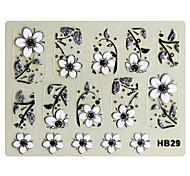 3PCS 3D Nail Art Stickers HB Series No.6 Black Cartoon Transparent