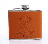 Personalized Father's Day Gift Orange 5oz PU Leather Flask