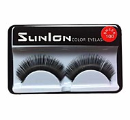 1 Pair Black Machine Made False Eyelashes SL0100
