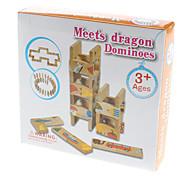 Madera Cumple dragón Tarjetas Domino Set con los patrones de la historieta