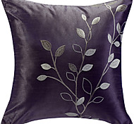Purple Leaves Embroidery Decorative Pillow Cover