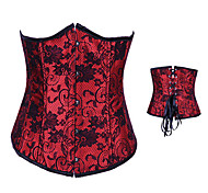 Red and Black Floral Satin Gothic Lolita Corset