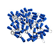 Insulated Ring Terminal Connectors - Blue + Silver (5mm / 50 PCS)