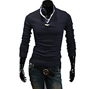 Men's Solid Casual T-Shirt Long Sleeve