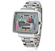 Часы кварцевые аналоговые унисекс с квадратным циферблатом в стиле ТВ из серебристой стали