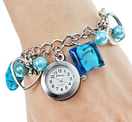 Women's Alloy Plastic Analog Quartz Bracelet Watch (Blue)
