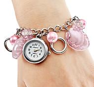 Femmes analogique Plastique Alliage Bracelet Montre à quartz (rose)