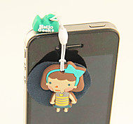 Cartoon Rubber Girl Anti-Dust Earphone Jack with Mobil Phone Screen Cloth