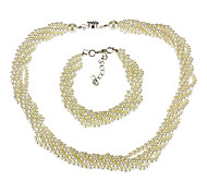 6 Layer Of Pearl Bracelet Necklace Suits
