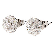 Medium Round Nail Form Fully-jewelled Stainless Steel Stud Earrings