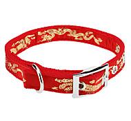 Metal Buckle Adjustable Grand Dragon Pattern Nylon Collar for Dogs (46cm/18inch)
