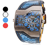 Men's Watch Military Trapezoidal Dial Dual time zones PU Band Cool Watch Unique Watch