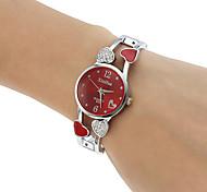 Женские Модные часы Часы-браслет Имитация Алмазный Кварцевый сплав Группа Heart Shape Кольцеобразный Серебристый металл