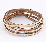 Candy Color Multi-row Leather Bracelet(Assorted Colors)