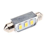 Festoon 41mm 1W 3x5730SMD Natural White Light LED Bulb for Car Reading Lamp (12V)
