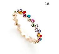 lureme®gold vernickelt zuzuteilen zweireihigen Zirkon Ring (farblich sortiert)