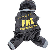 Cool FBI Warning Pattern Safety Reflective Pet Summer Raincoat for Dogs
