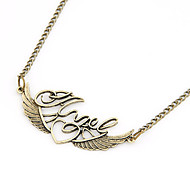 """Vintage Alloy """"Love"""" Wings Pattern Necklace"""