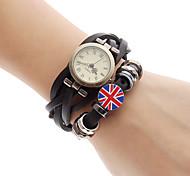 Royaume-Uni Drapeau en cuir de style analogique bracelet montre femme quartz (noir)