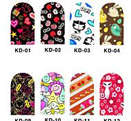 12PCS 3D Full-cover Nail Art Stickers Cartoon Series(NO.1,Assorted Color)