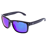 Unisex Blue Lens Black Frame Polarized Rectangle Sunglasses
