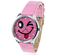 Women's Smiling Face Style PU Analog Quartz Wrist Watch (Pink)