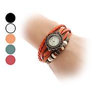 Women's Quartz Analog Sunflower Style Case Leather Band Bracelet Watch (Assorted Colors)
