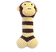 Environmental Friendly Cute Monkey Style Crocheted Cotton Thread Squeak Toys for Dogs (Length: 18cm)