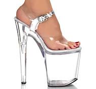 Silver Buckle Strap 9cm Platform 20cm Stiletto Heel Women's Sandals